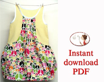 Baby Sewing pattern. Girl sewing pattern. Toddler pattern. Bubble Dress. tutorial. pdf.  6T