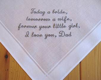 Wedding Handkerchief for Father of the Bride on White Men's Handkerchief with Custom Message No. 2