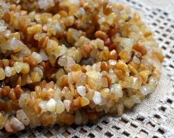 "Golden ""Jade"" 36-inch Strand  Chips Gemstone Beads 12x5mm"
