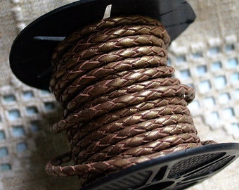 1 meter of 3mm Bronze Metallic Braided Bolo Leather Cord