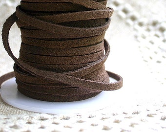 5 Yard Suede Leather Cord 3mm x 2mm Dark Brown Lace Split Suede