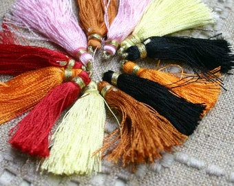 12pcs Tassel Charms Silk Imitation Mixed Colors 6 Pair 1 3/4 in 45mm