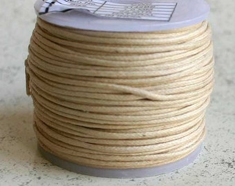 Cotton Cord NATURAL Waxed 1mm 25-meter  - Many Colors