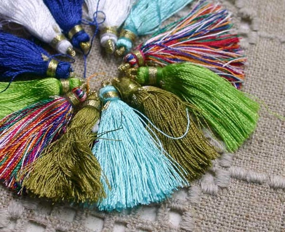 12pcs Tassel Charms Silk Imitation Mixed Colors 6 Pair 1 3/4 inches 45mm
