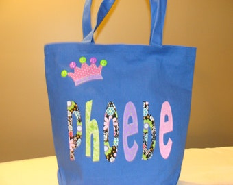 Girl's Large Personalized Princess Tote (with crown applique)