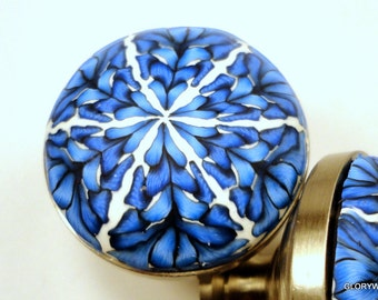 Cabinet Knobs/Pulls Set of 8 Decorative Polymer Clay...Blue and White