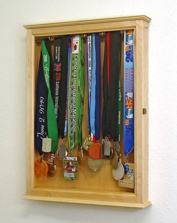 Swimming Medal Cabinet-Maple Hardwood