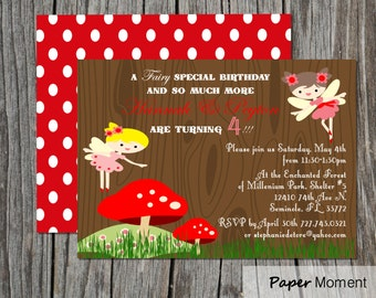 Woodland Fairy Birthday Invitation Fairy Princess Party