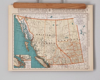 1930s Antique Maps of British Columbia, Alberta, Saskatchewan & Manitoba, Canada | Canadian Province Maps