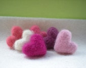 Spring Flowers -- 6 NeedleFelted Wool Love Tokens in Pretty Shades of Pink and Plum