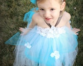 Cinderella inspired Teal and White Tutu Dress