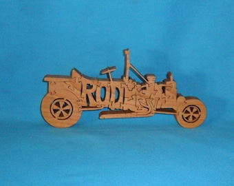 Roadster Hot Rod Handmade Scroll Saw Wooden Puzzle