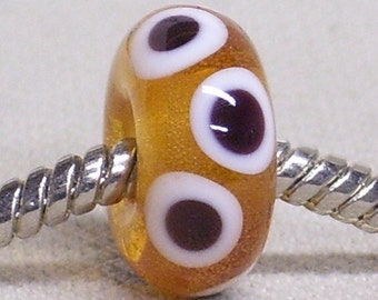 Handmade Lampwork Large Hole European Charm Bead Transparent Topaz with White and Black Dots