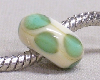 Handmade Glass Lampwork Bead Large Hole European Charm Bead Beige with Transparent Teal Dots
