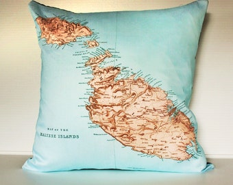 Vintage map/ map print Malta Pillow cover/  organic cotton cushion cover/ pillow case/  organic cotton/ cotton / second anniversary