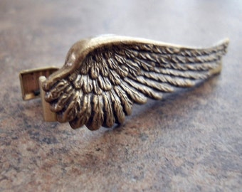 Brass Wing Men's Tie Bar Clasp By Enchanted Lockets