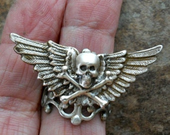 REDUCED, ONE ONLY Flying Skull Steampunk Silver Ring by Enchanted Lockets