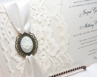 Lace Wedding Invite, Lace Wedding Invitation, Lace Invite, Vintage Invitation,  Lace Invitation, Lady Cameo Invite,VICTORIA -ROSE HORIZONTAL