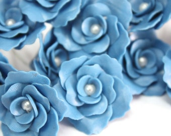 Miniature Roses Handcrafted Clay with Pearl bead, 12 pcs., Supreme Blue