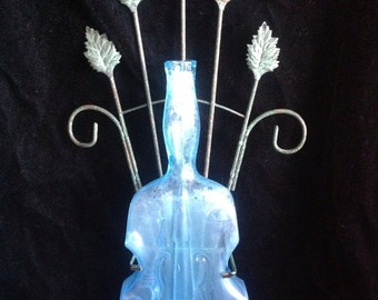 Dell Large Violin Bottle Leaf Scrollwork Light Blue Viobot