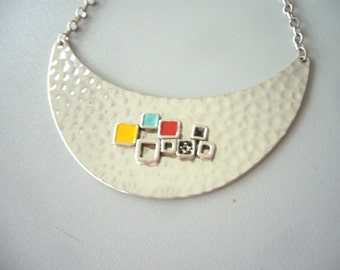 Crescent Moon Necklace with colours