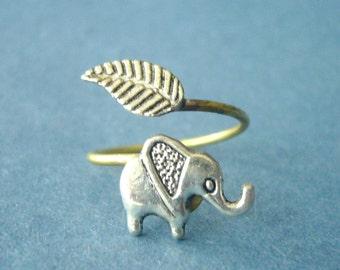 Elephant wrap ring, adjustable ring, animal ring, silver ring, statement ring