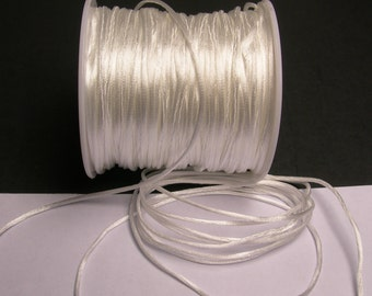 Satin Rattail Cord - knotting/beading cord -1.5mm - 65 meter - 213 foot - white - SSC19