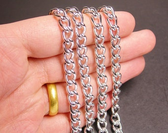 Silver chain - lead free nickel free won't tarnish 1 meter-3.3 foot - aluminum chain