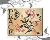 PDF Emailed Quaker Flower Peace Cross Stitch Pattern Sampler Primitive Design 9 *