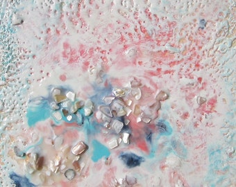 Encaustic Painting with Mother of Pearl -Tide Pool 3 8 x 8