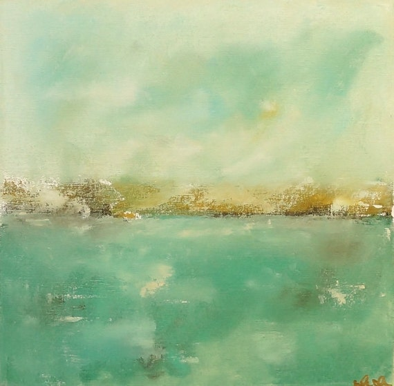 Green Blue Seascape Painting Original Art -Lakeview Soft Green 16 x 16