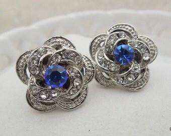 Bridal Earrings Stud Earrings Bridal Rhinestone Earrings Rhinestone Earrings Swarovski crystal blue Earrings Something Earrings ROSELANI