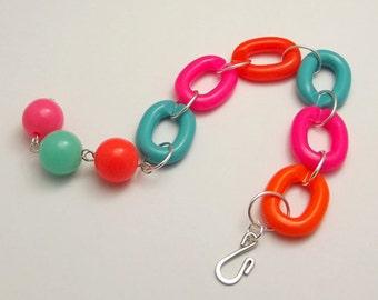 Plastic Link Bracelet, Bright, Neon Pink, Orange, Blue