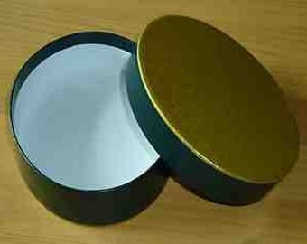 "Chocolate Truffle Boxes Hand Made Rigid Oval Box and Lid Green and Gold  5 1/4"" x 4"" x 1 1/4"""
