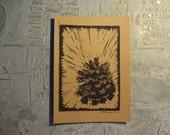 Pinecone Block Print Card
