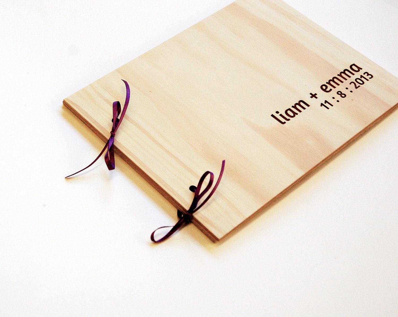 Diy Wooden Book Cover ~ Wedding book diy guest bridal album engagement gift