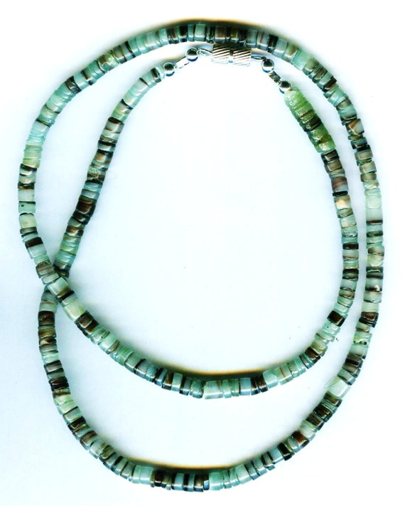 Mens / Unisex Gaspeite Green Shell and Brown Shell Beaded Necklace