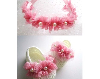 Pink Wave Beaded Crochet Baby Booties and Headband Set - 4 Sizes