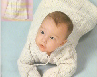 Knitting Pattern - Vintage 1970s Baby Sleeping Bag with Hood, Mittens Set PDF Pattern - 5199-255 - Instant Download
