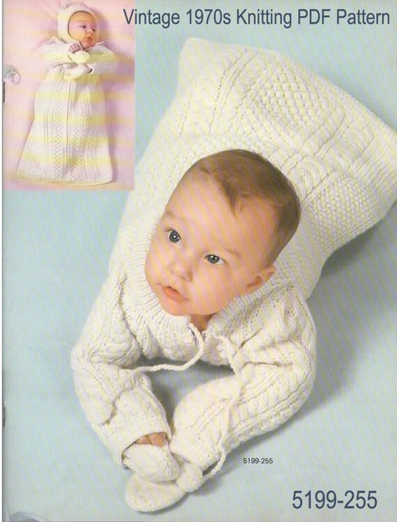 Knitting Pattern Sleeping Bag : Knitting Pattern Vintage 1970s Baby Sleeping Bag with Hood