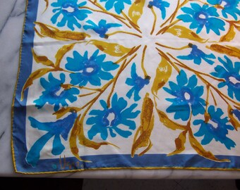 50s Vera Ladybug Scarf in Cerulean Blue and Saffron