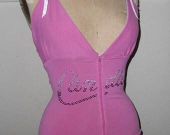 SALE Pink Candies  white, pink and purple rhinestones Hoodie Halter Tank Top