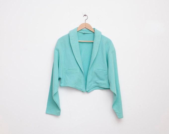 90s NOS vintage Crop jacket turquoise