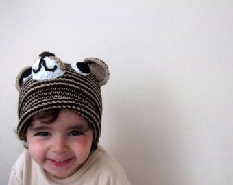Brown and Beige Tiger Hat -Knitting Baby  Hat  - for Baby or Toddler-boy halloween costume