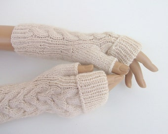 Beige  Fingerless Gloves,Fingerless Gloves, Arm Warmers-Ready to ship