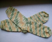 Hand Knit Soft And Warm  Women's Cotton - Merino Wool  Socks, Size  8.5  -  9   (9.75 inches length)
