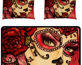 red roses bedding set fleece blanket and two pillow cases