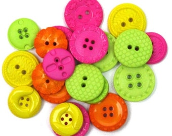 Jesse James Button Embellishments  Novelty Buttons Calypso Brights Pink Yellow Green Orange