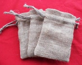 "20 Burlap drawstring bags 4"" X 6"" for candles handmade soap wedding"