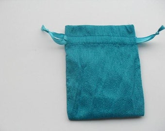 """100 Turquoise Blue Dupioni Silk drawstring Pouch 5"""" X 7"""" for stamping jewelry bath salts herbs handmade soap"""